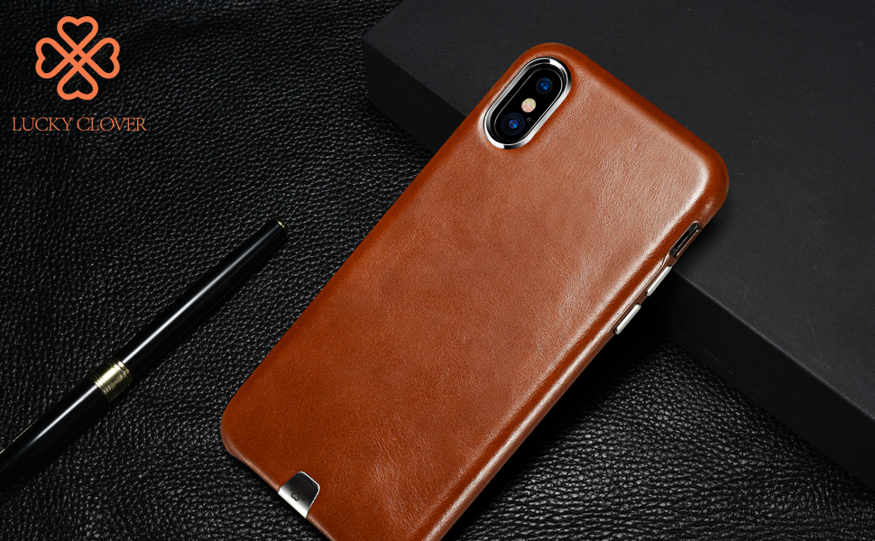 iphone x leather case lucky clover thinnest. Black Bedroom Furniture Sets. Home Design Ideas