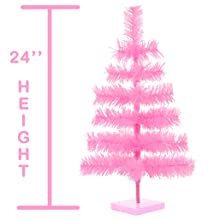 2ft pink christmas tree tinsel artificial made in the usa holiday decorations lee display