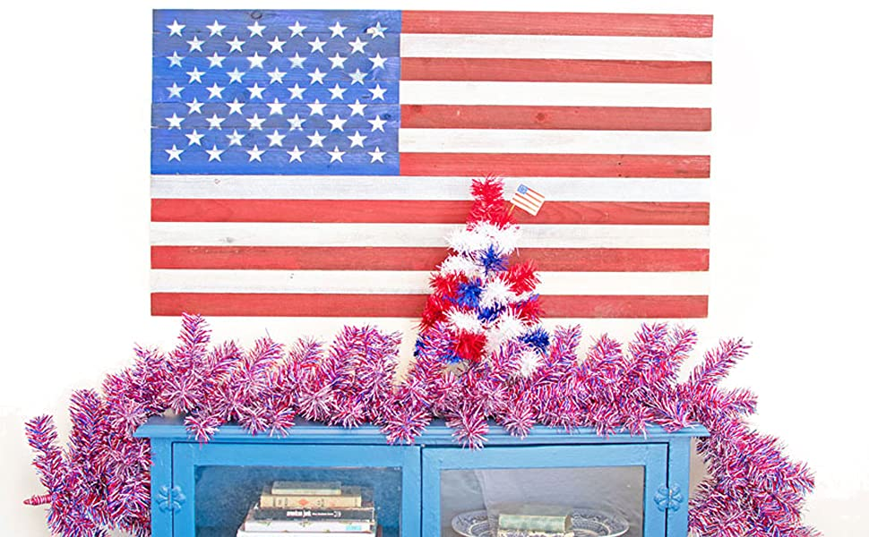 red white blue christmas tree american patriotic 4th july holiday tabletop centerpiece home decor