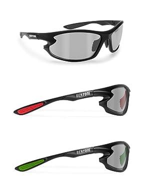d53b63907a3 Photochromic Polarized Sports Sunglasses for men women Running Cycling  Fishing Golf Baseball - P676FT Windproof Wraparound Design by Bertoni Italy