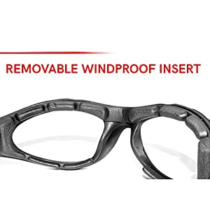 Bertoni Motorcycle Padded Glasses - Windproof Antifog Anticrash Lens - AF125A Mat Black Italy