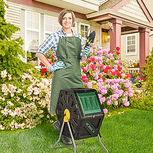 Miracle-Gro Small Composter - Compact Single Chamber Outdoor Garden Compost Bin - Heavy Duty 18.5gal (70L) Capacity - Easy to Assemble Compost Tumbler ...