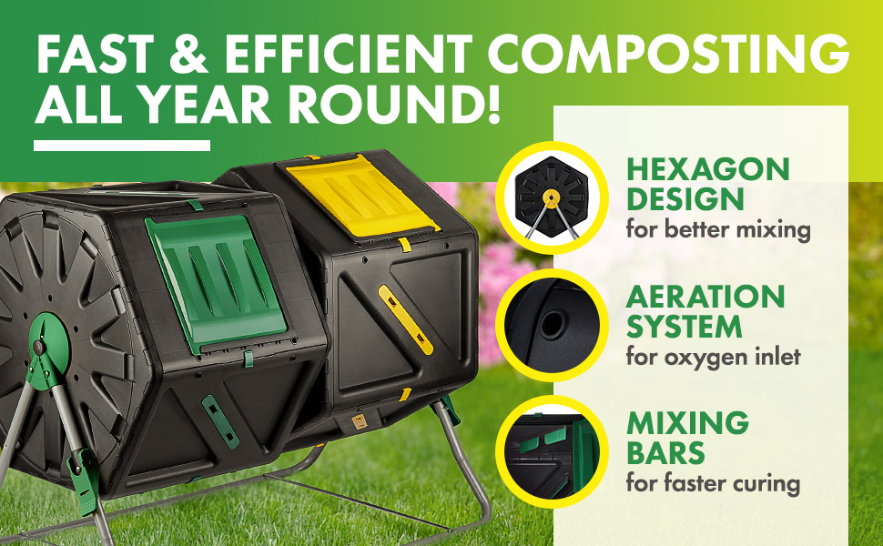 Miracle-Gro Large Dual Chamber Compost Tumbler – Easy-Turn, Fast-Working System – All-Season, Heavy-Duty, High Volume Composter with 2 Sliding Doors + ...