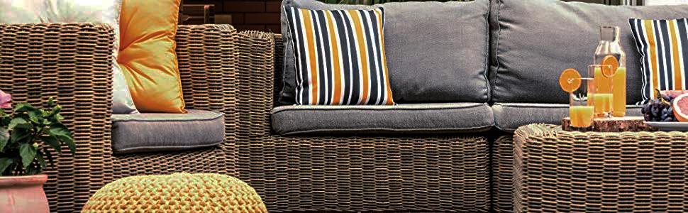 backyard dark wicker patio furniture decor