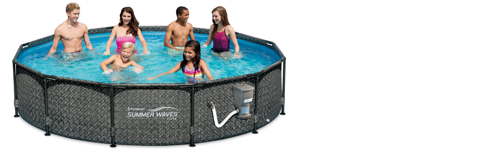 Summer Waves P20012331 Active 12ft X 33in Outdoor Round Frame Above Ground Swimming Pool Set With Skimmer Filter Pump Filter Cartridge Gray Wicker Garden Outdoor
