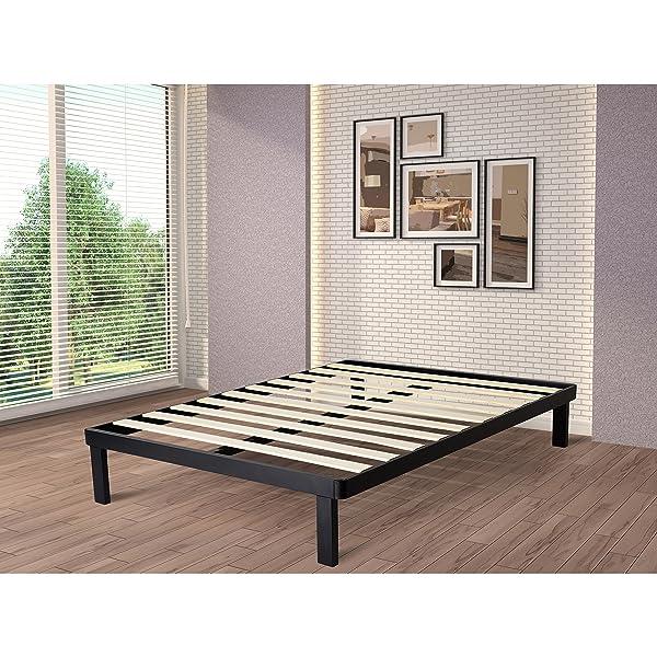 Amazon.com: intelliBASE Wood Slat Metal Bed Frame, Twin: Kitchen ...
