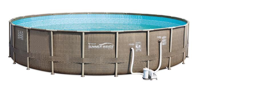 summerwaves large round backyard outdoor above ground swimming pool