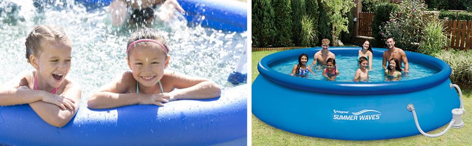 Amazon.com: Verano olas 15 ft. Rápido Set piscina sobre piso ...