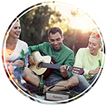 group gathering playing music with the ax500 at a picnic in a park sitting down playing guitar music
