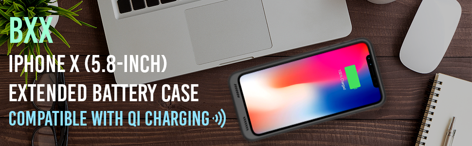 Black Alpatronix BXX Extended Battery Case Compatible with Qi Charging On Office Desk Near Laptop