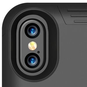 Black BXX camera window cut-out to take photos or videos while battery case is installed