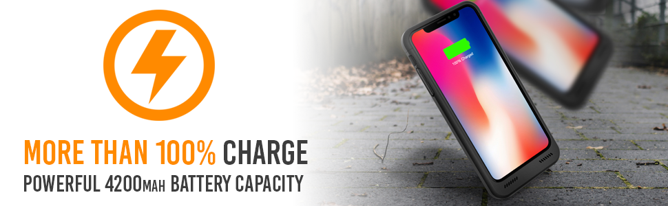 Black Alpatronix BXX Charging Case with More Than 100% Charge and Powerful UL-certified battery