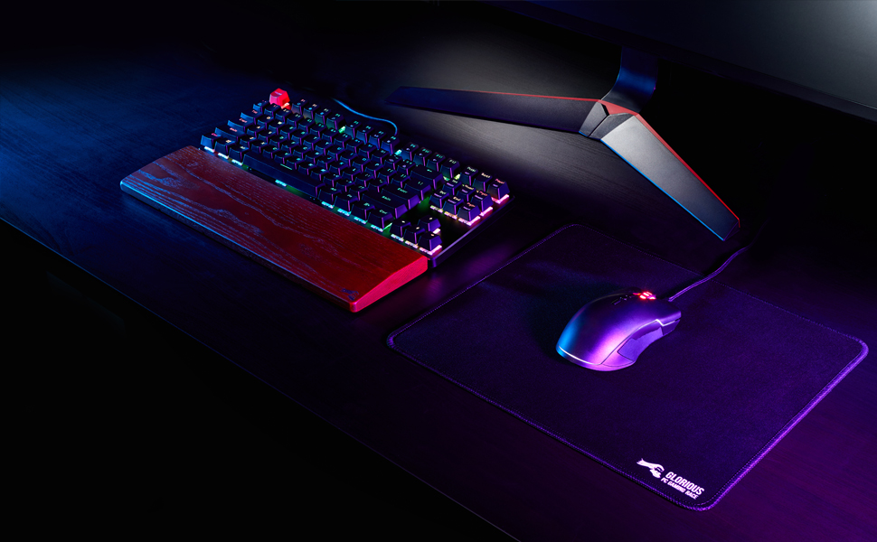 Black Mousepa 2Mm Thick Glorious Large Gaming Mouse Mat // Pad Stitched Edges