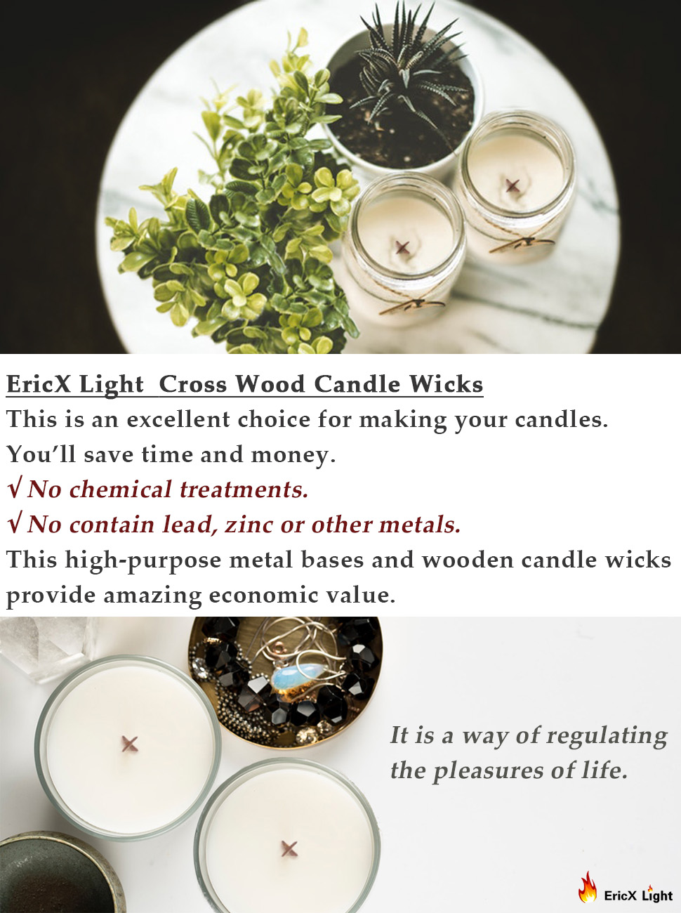 Amazon Com Ericx Light 5 Inch Cross Wooden Candle Wicks