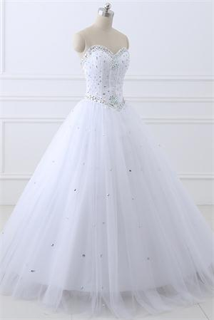 dbb9badbdeb Amazon.com  Erosebridal Long Prom Dress Tulle Sweetheart Beaded ...