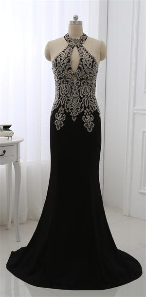 Long Lace High Neck Prom Dresses Evening Gown