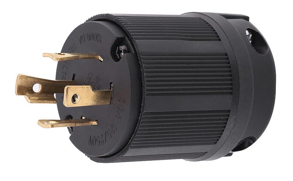 Amazon Com  L14 250 Vac 3 Pole 4w 4 Prong Nema Twist Lock Male