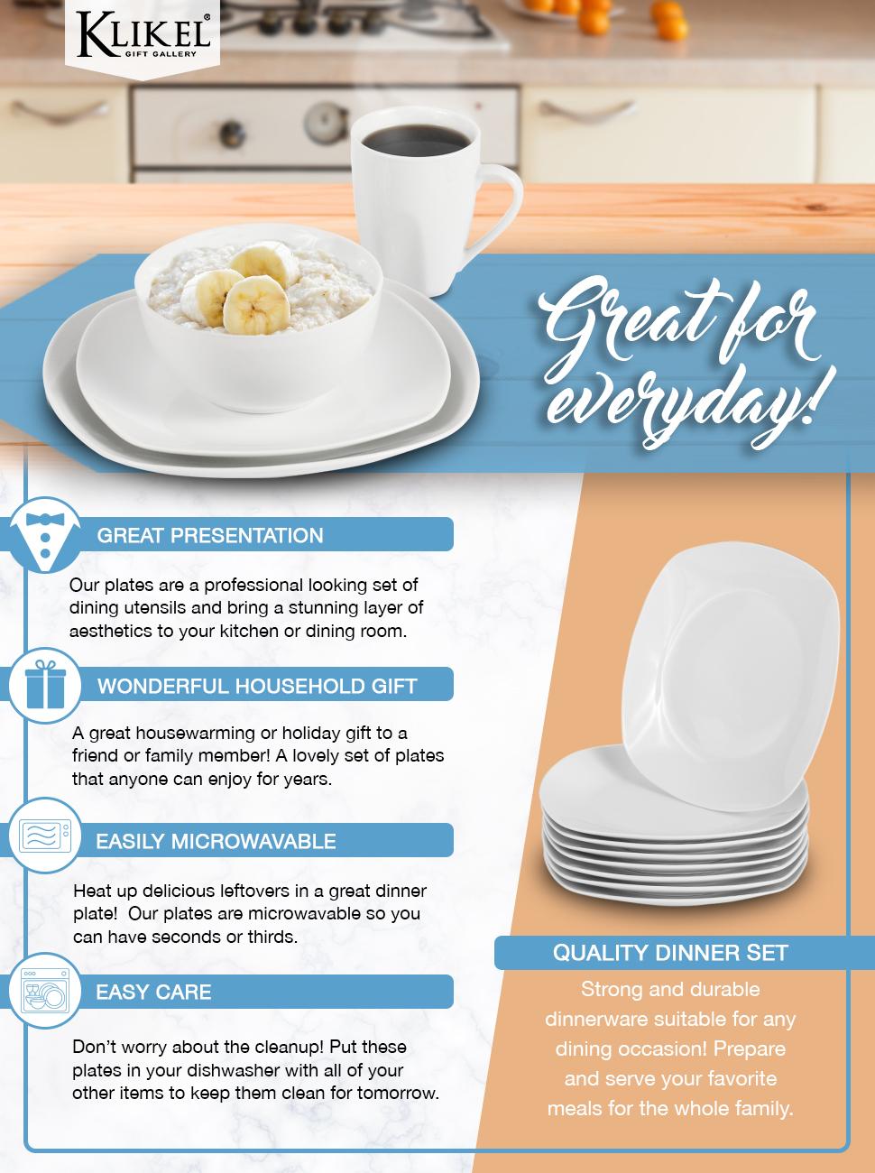Amazon.com | Klikel 8 White Square Salad Plates - 8.3-inch Classic ...