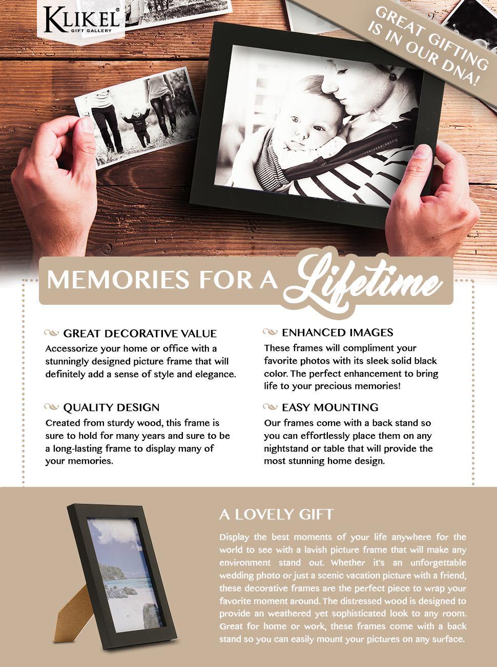 Amazon klikel 6 x 8 black wooden picture frame black klikel 6 x 8 black wooden picture frame black wooden wall hanging and table standing photo frame jeuxipadfo Image collections