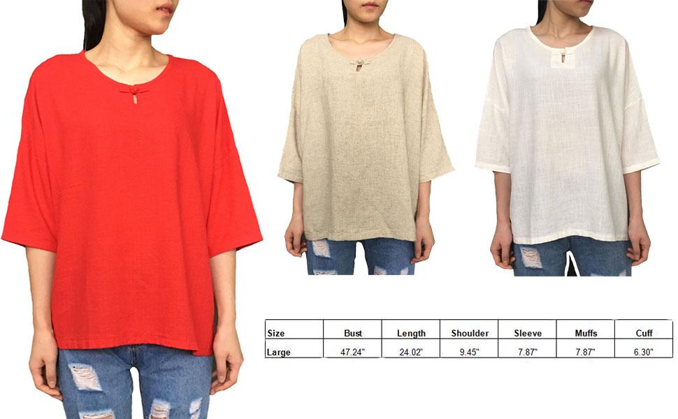 31328278af0 Amazon.com  Aeneontrue Women s Linen Cotton Casual Short Sleeve Tops ...