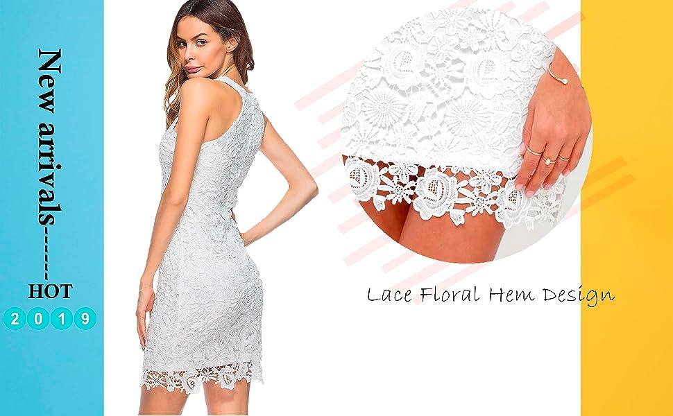7e32bdbf74e89 Lamilus Women's Casual Sleeveless Halter Neck Party Lace Mini Dress