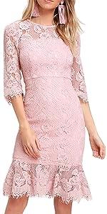 1905cc5ddb6b0e Lamilus Sexy Deep V-Neck 3 4 Sleeve Solid Fit Party Split Wrap Elegant dress  · Lamilus Women s Elegan 3 4 Sleeve Fit Casual Work Party A-Line Mini Dress  ...