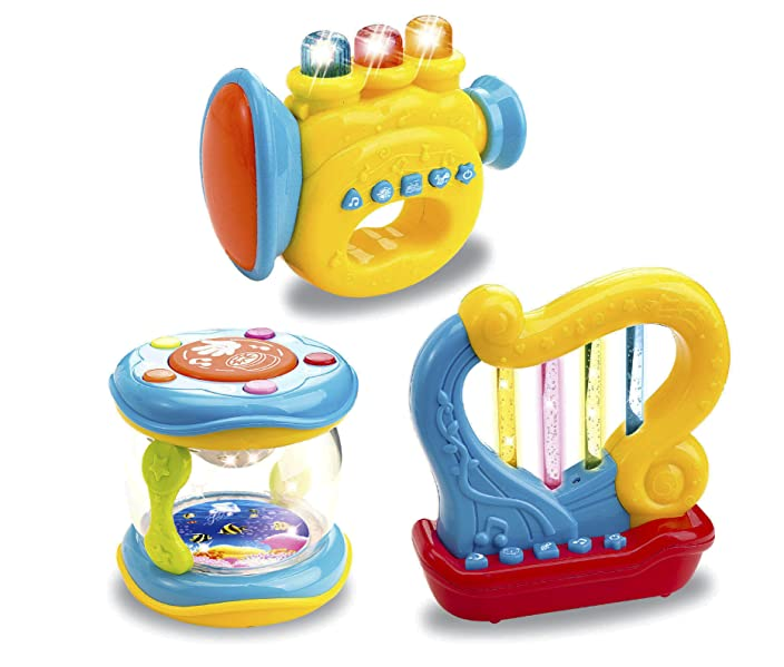 Amazon musical toy instruments for toddlers set of 3 light up bundle pack trumpet drum harp baby musical toys sciox Choice Image