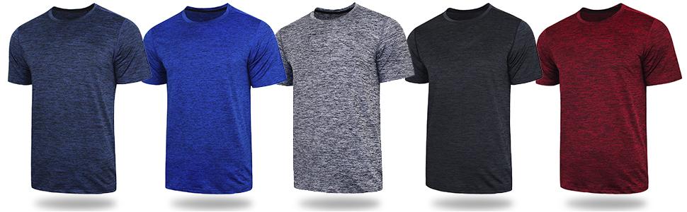 bulk pack of 5 athletic t shirts for men
