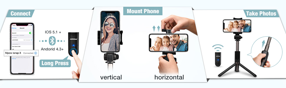 wireless waterproof mini portable extendable adjustable selfie stick tripod with remote shutter