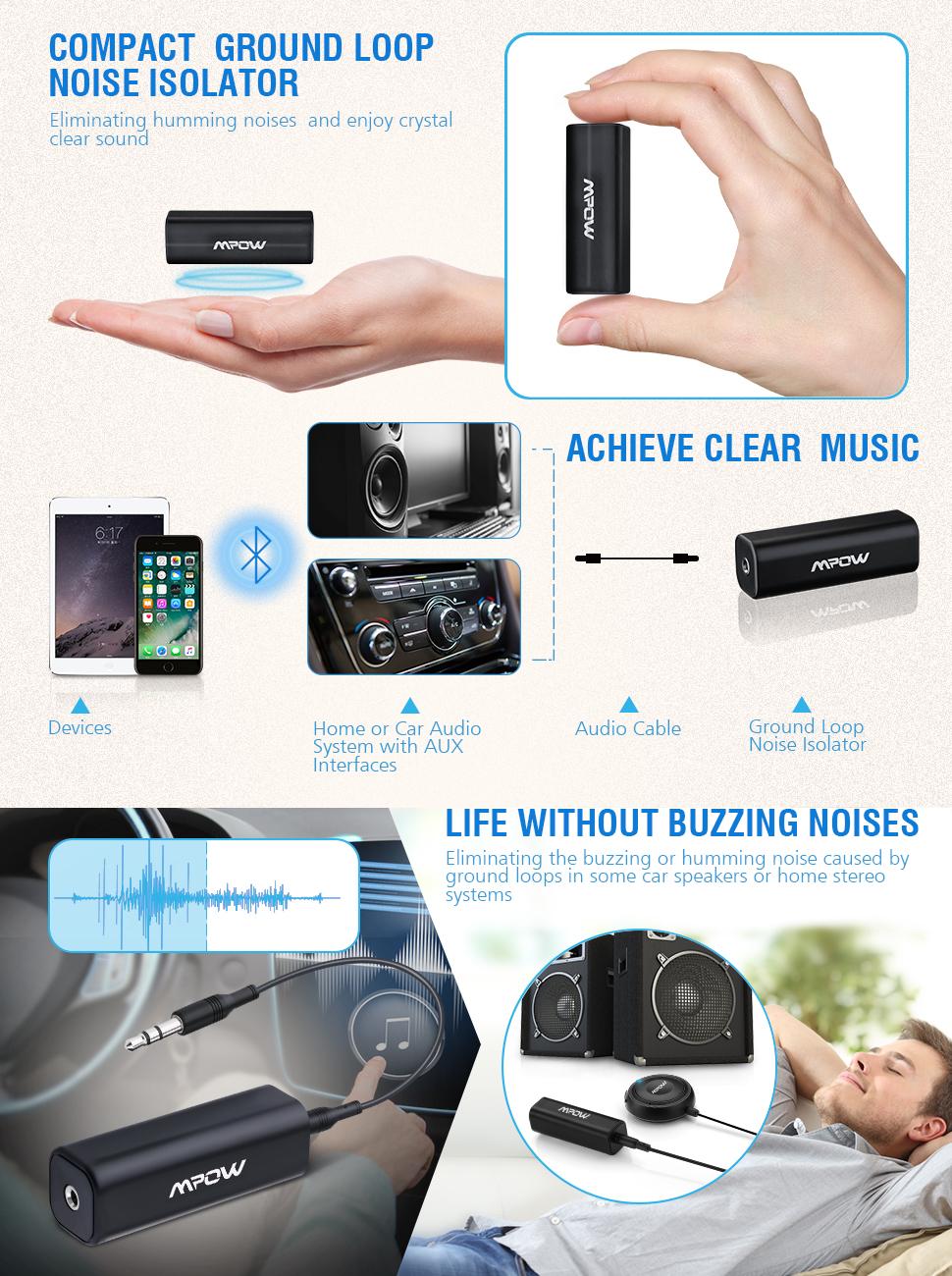 Amazon Com Mpow Ground Loop Noise Isolator For Car Audio