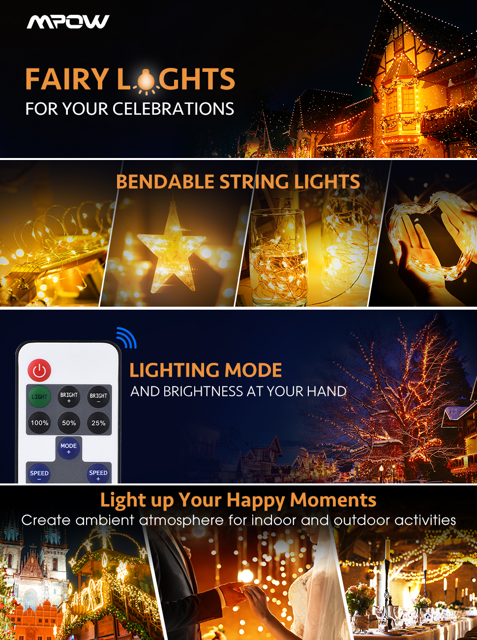 Mpow Led String Lights With Remote Control 33ft 100led Waterproof Outdoor Wiring For Christmas This Light Generates Warm White Yellow That Specially Designed Indoor And Lighting It Has Copper Wire Generate A