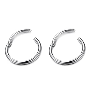 Thunaraz 3-6Pairs Stainless Steel 16G Sleeper Earrings Septum Clicker Nose Lip Ring Body Piercing