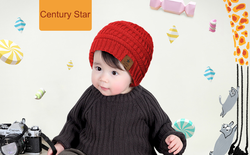 Century Star Baby Knit Hats Soft Warm Infant Toddler Beanie Cute Babies Hat Boys and Girls