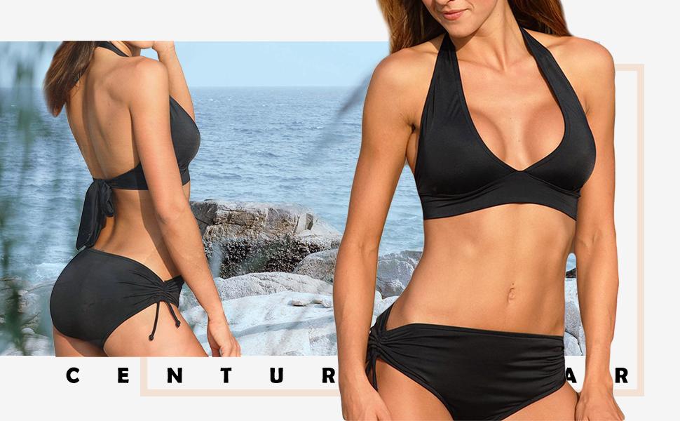 ecf2626718845 Century Star Two Piece Swimsuit Halter Bikini Set With Briefs Or Boyshorts