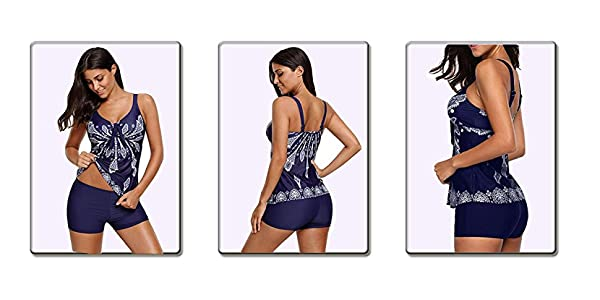 Century Star Womens Printed Swimdress Floral Swimwear Two Piece Slimming Skirt Swimsuit with Boyshorts