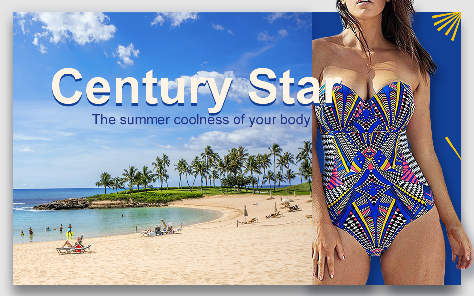 96a4856393 Century Star Women's Plus Size Swimwear Cover Up One Piece Slimming Control  Blouson Tankini Swimsuits