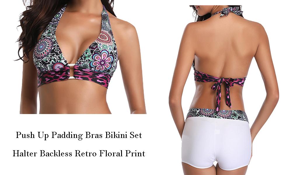 04ff720c80c64 Amazon.com: Century Star Women Halter Bandage Bikini Set Push Up ...