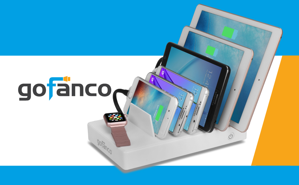 gofanco USB Charging Station 7 Port 65W 2.4A Fast Charging Smart IC Desktop Charging Organizer Charging Stand for iPhone, iPad, Smartphones, Tablets ...