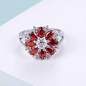 red stone ring,white gold ring with red stone