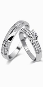 2 rings set,wedding ring set
