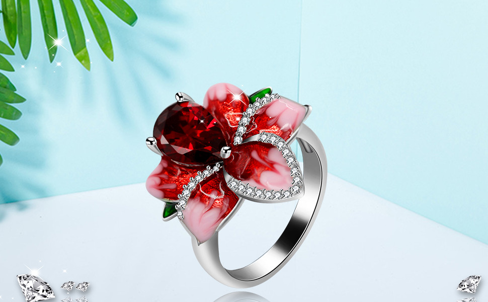 K247 DOME RED ENAMEL FLOWER HAND PAINTED RING WOMENS SALE