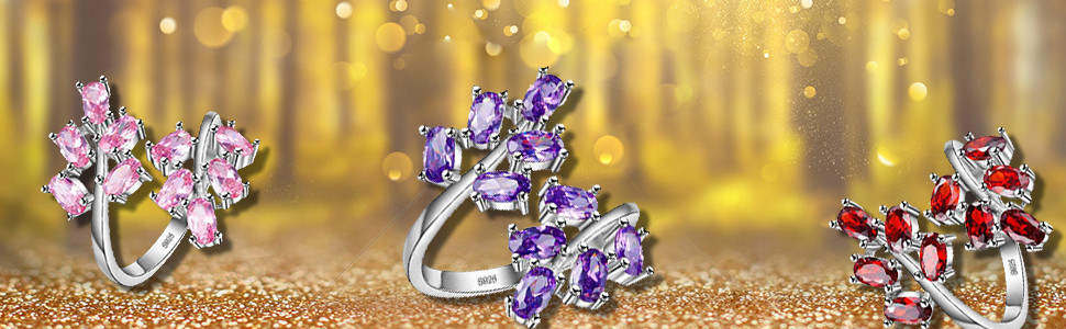 platinum plated tree leaf rings pink red purple oval cut cubic zirconia crystal adjustable rings her