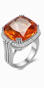 orange stone ring,square stone ring
