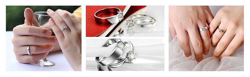 wedding ring set.promise ring for women,ring for couple,couple ring,1 pair ring,2 rings set