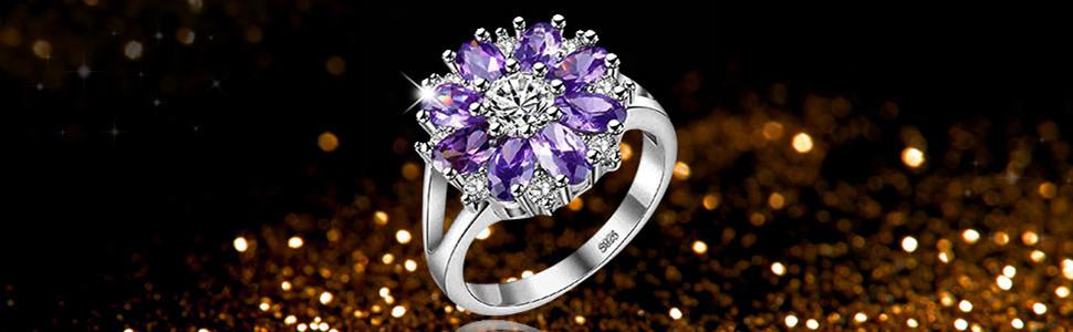 flower ring,women ring,purple ring