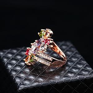 adjustable ring rose gold, adjustable ring rainbow,open ring,open rings,open ring for women