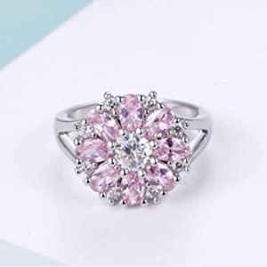 hot pink jewelry,pink ring for women,flower ring for women,white gold ring for women