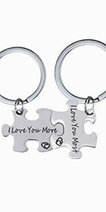 i love you more, i love you most,matching keychains,couple keychains,puzzle keychains