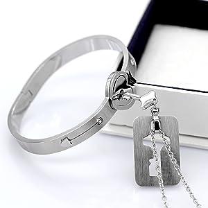 lock bracelet,key pendant necklace,bracelet and necklace set,couple jewelry set