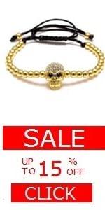 Skull Ball Strand Bracelet